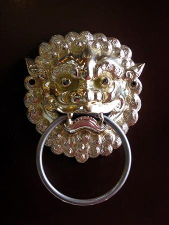 Chinese antique door knob with liondragon head   photo
