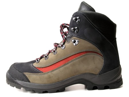 Fashion hiking boot isolated on white background photo