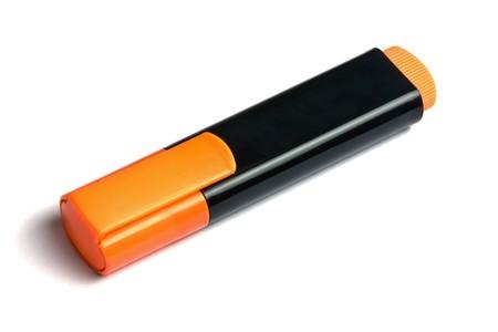 Orange marker/highlighter isolated on white background Stock Photo - 7355021