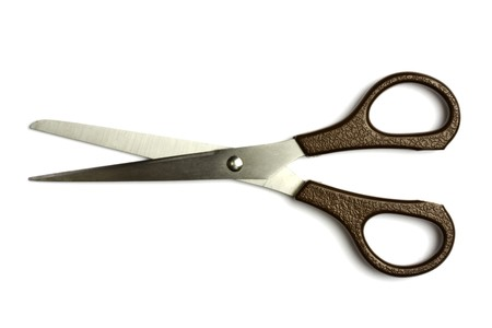 clippers: Open scissors isolated on white background