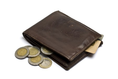 Brown wallet with coins and credit card isolated on white Stock Photo - 7355055