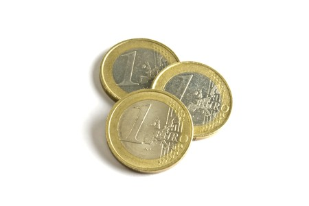 Euro coins isolated on white background photo