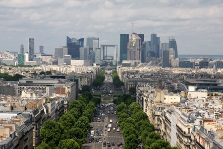 champs: Aerial view of Paris Champs Elysees