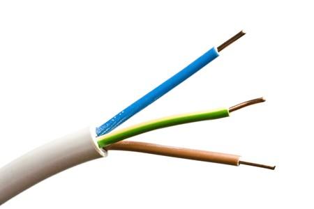 cables electricos: Cerca de un cable el�ctrico colorido Foto de archivo