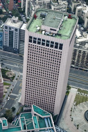 roof top: Aerial view a tall building from the top of 101 Tower