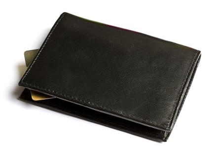 Black wallet with Credit card isolated on white Stock Photo - 7911782