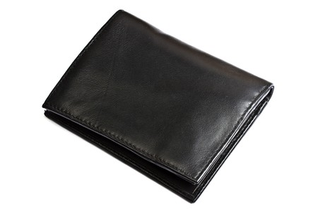 A Black wallet isolated on white background Stock Photo - 7911942