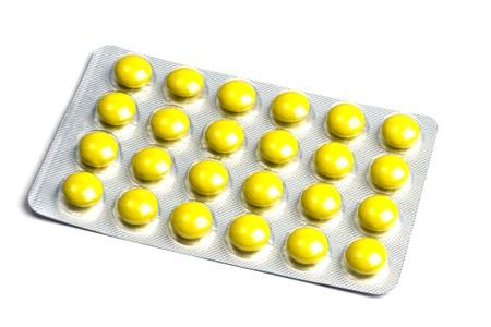 Set of pills isolated on white background photo