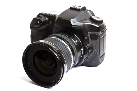 reflex: Fotocamera DSLR isolata su sfondo bianco