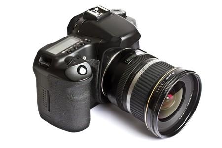reflex camera: DSLR camera isolated on white background