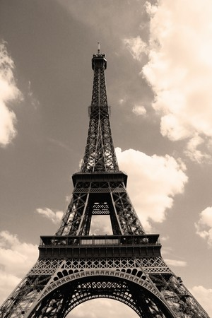 Eiffel Tower in dark sky photo