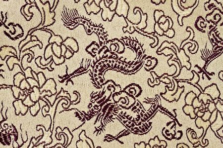 fabric texture of chinese golden dragons and flowers  photo