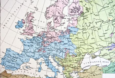netherlands map: Ancient map or Europe. Handmade in 1881 Stock Photo
