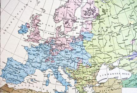 deutschland karte: Antike Karte oder Europa. Handgefertigt in 1881 Lizenzfreie Bilder