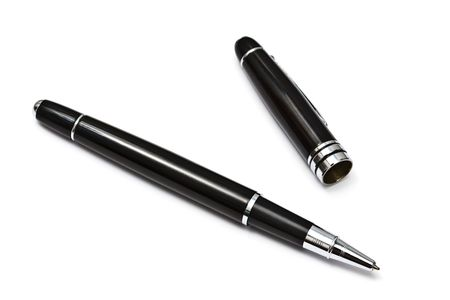 Black Ball Point Pen Isolated On White background  Stock Photo