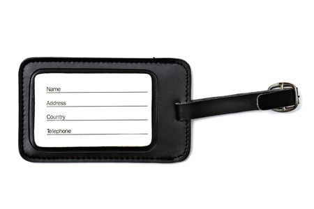 luggage tag: Black leather Luggage tag isolated on white background