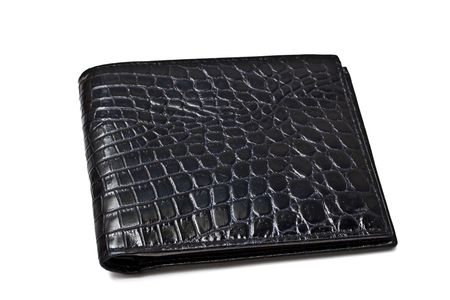 empty pocket: A Black wallet isolated on white background   Stock Photo