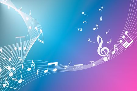 Colorful abstract background of music notes