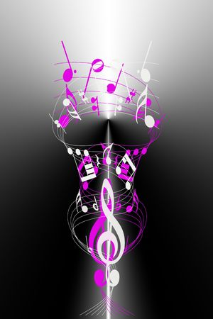 abstract background of colorful music notes