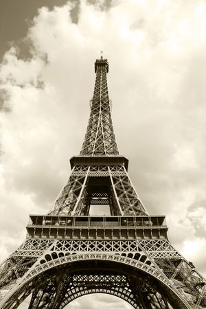 Eiffel Tower in sepia closeup  photo
