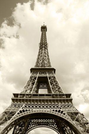 Eiffel Tower in sepia closeup  photo