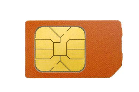 chip: Tarjeta SIM para tel�fono m�vil aislado sobre fondo blanco