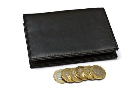 Black wallet with euro coins isolated on white  photo