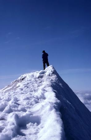 Snow mountain and a man