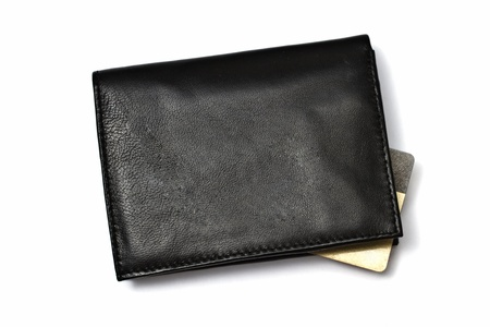 Black wallet with Credit card isolated on white background  photo