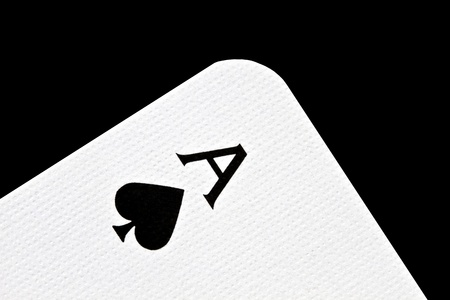 Ace of spades isolated on black background  photo