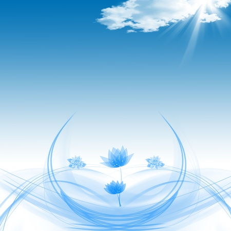 Abstract background of Lotuses and blue sky photo