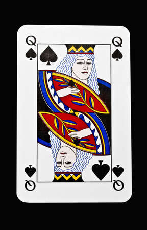 clubs diamonds: Queen of spades closeup on black background Stock Photo
