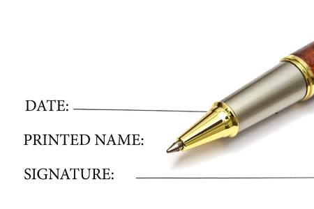 Pen isolated on blank signature paper Stock Photo - 8494234