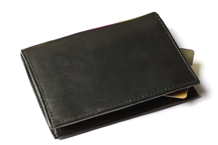Black wallet with Credit card isolated on white   photo