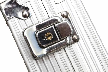 Metal case closeup on white background photo