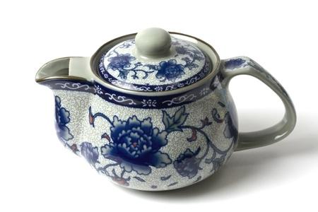 pot light: Chinese tea pot isolated on white background Stock Photo