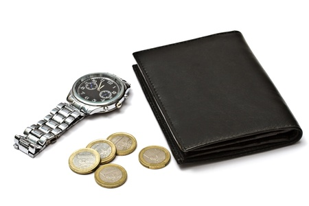 Black wallet,watch and coins isolated on white Stock Photo - 8541406