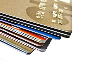 Different credit Cards closeup on white background  photo