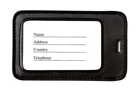 Black leather Luggage tag isolated on white background  Stock Photo - 8687143