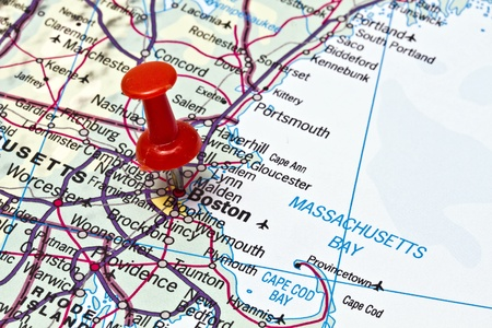Boston on a map closeup