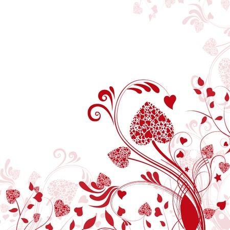 Astratto sfondo di fiori e cuori.Scheda di San Valentino.