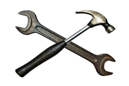 Hammer and wrench isolated on white background photo
