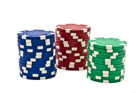 Casino chips isolated on white background photo