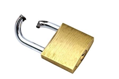 lock symbol: Broken padlock isolated on white background