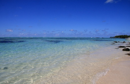 Beautiful  beach,ocean and sky on  Mauritius 