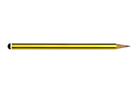 Yellow pencil isolated on white background   photo