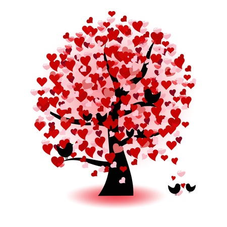 Abstract tree of love, hearts and birds Vector
