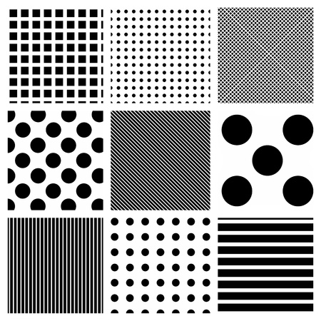 Vector seamless striped and polka dots patterns background photo