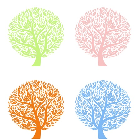 Abstract art trees of four seasons photo