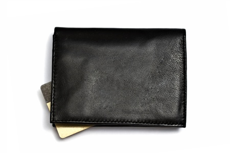 Black wallet with Credit card isolated on white background Stock Photo - 9580736